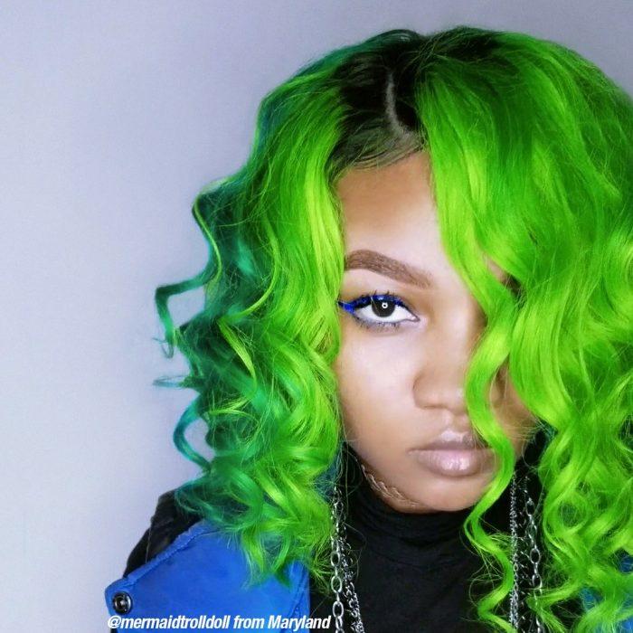 Усиленная зёленая краска для волос Electric Lizard